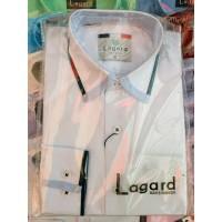Рубашка детская, подростковая Lagard длинный рукав. Белая+черный кант+полоска зебра