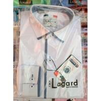 Рубашка детская, подростковая Lagard длинный рукав. Белая+синий кант