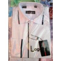 Рубашка детская, подростковая Lagard длинный рукав. Белая+черный кант