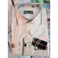 Рубашка детская, подростковая Lagard длинный рукав. Белая+черный кант полоска/ромб