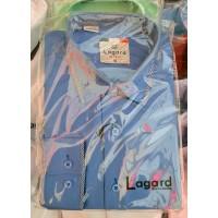 Рубашка детская, подростковая Lagard длинный рукав. Голубая+синий кант полоска/ромб