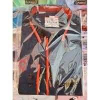 Рубашка детская, подростковая Lagard длинный рукав. Темно-синяя + красная полоска и кант ромб-полоска