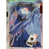 Рубашка детская, подростковая Lagard длинный рукав. Синяя + синий кант рыбка/ромбик + полоска