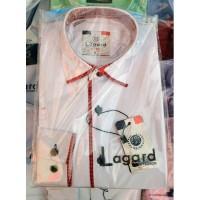 Рубашка детская, подростковая Lagard длинный рукав. Белая + красный кант рыбка/ромбик