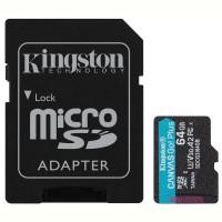 Карта памяти KINGSTON microSDXC 64Gb Canvas Go+ U3 V30 (R170/W70)+ad